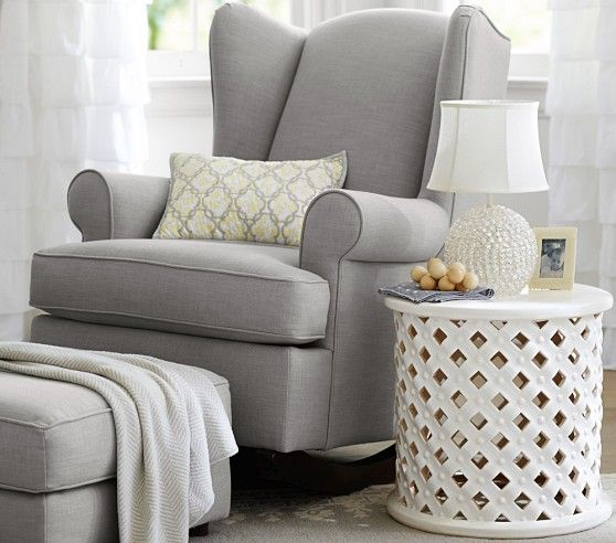 "Wingback Convertible Rocker | Pottery Barn Kids 33.5"" wide x 32"" deep x 43"" high - Doesn't recline but the fact that it is convertible and could be used as a living room chair later or in a guest room is nice"