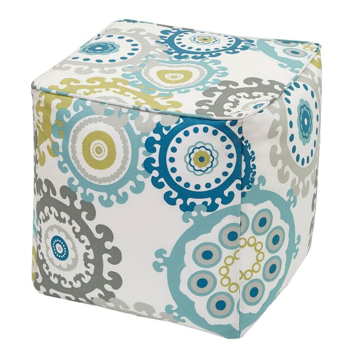 Madison Park 3M Scotchgard Outdoor Pouf, Blue
