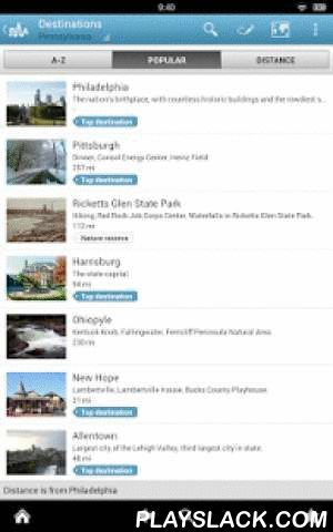 Pennsylvania Guide By Triposo  Android App - playslack.com , Features of Triposo's guide to Pennsylvania:★ Suggestions of what's interesting to see and do in Pennsylvania, depending on time, weather and your location;★ A detailed sights section with all the monuments of Philadelphia, Pittsburgh, Gettysburg, Harrisburg;★ Eating out section with the best restaurants in Philadelphia, Pittsburgh, Gettysburg, Harrisburg;★ Discover the nightlife of Pennsylvania! Bars, pubs & disco's in…