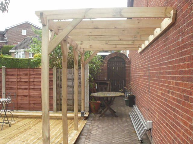 Custom built 16ft lean-to pergola ***Repinned by Normoe, the Backyard Guy (#1 backyardguy on Earth) http://twitter.com/backyardguy