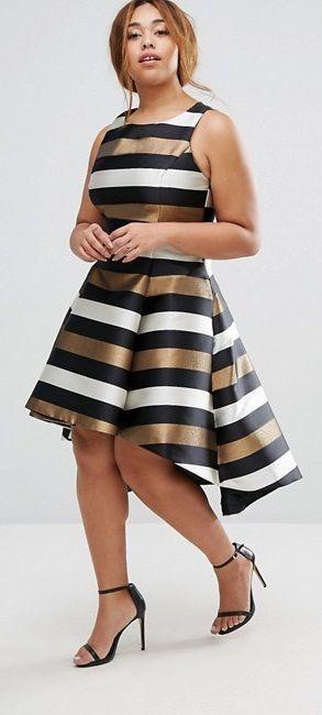 Plus Size Metallic Stripe Fit And Flare Dress