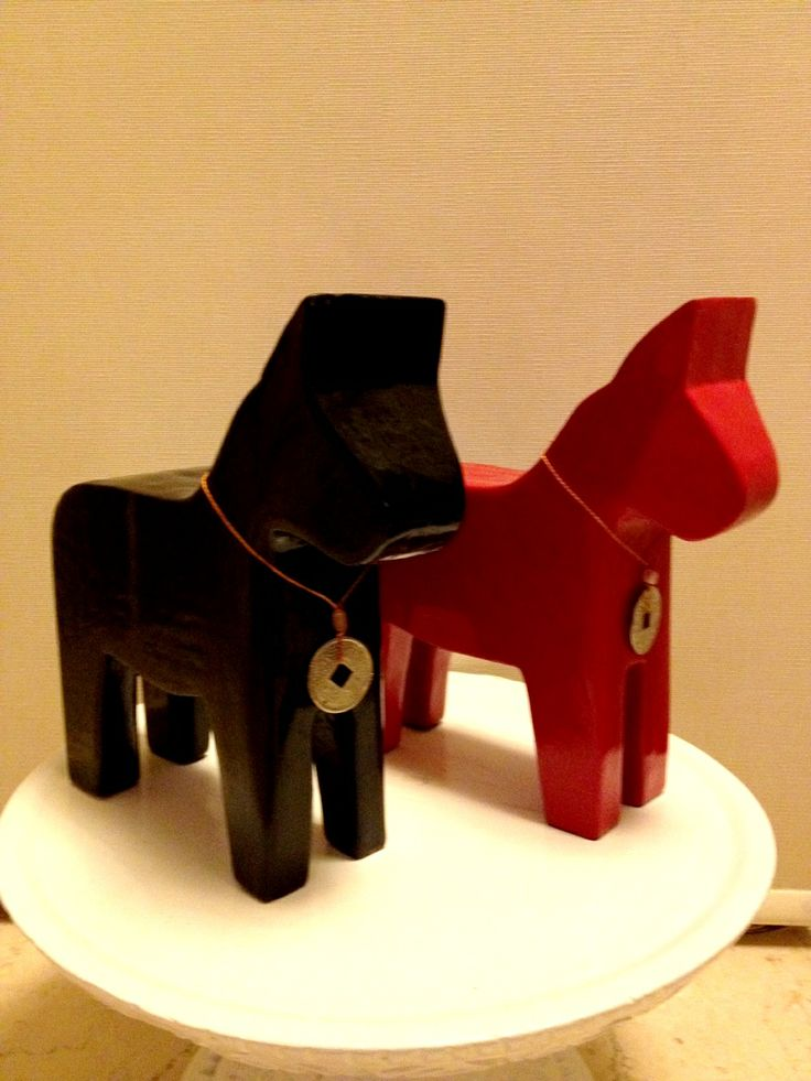 black and red horses