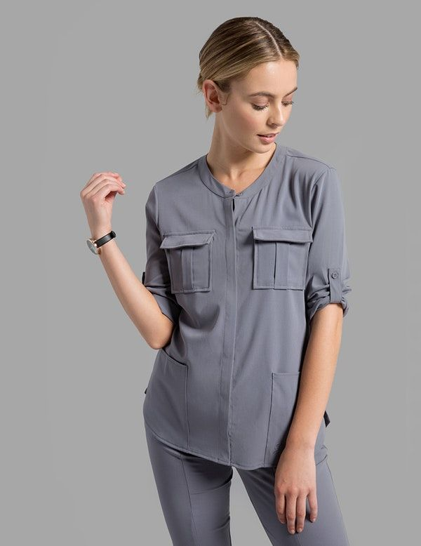 a1cbfb583a3 Cuffed Sleeve Button Down Top in Graphite is a contemporary addition to  women's medical scrub outfits. Shop Jaanuu for scrubs, lab coats and other  medical ...