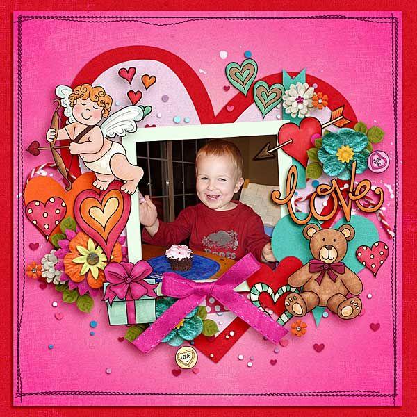 Love - Valentine's digital scrapbook layout created by Lisa using digital scrapbooking kits from Kate Hadfield Designs.