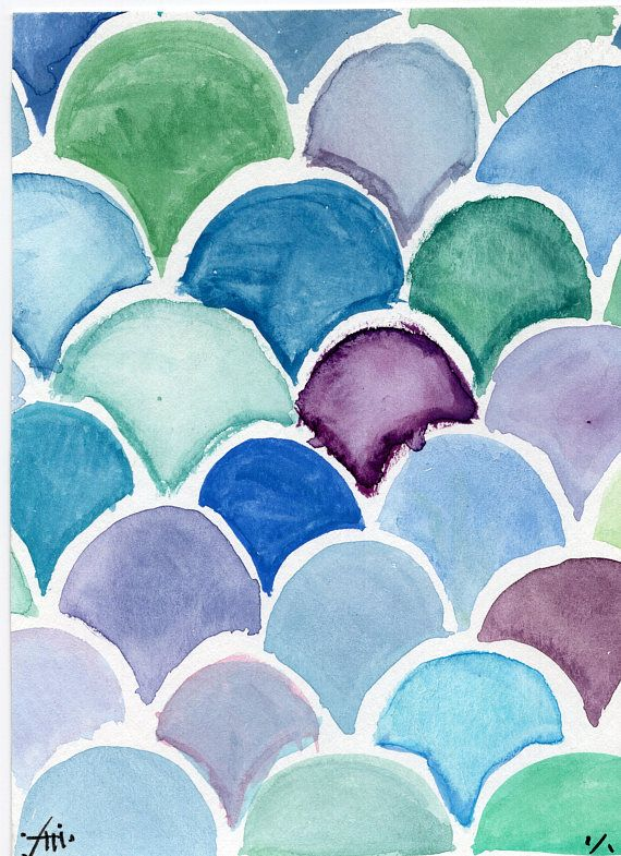 Small Lagoon Mermaid Scale Watercolor Painting | Art Inspirations