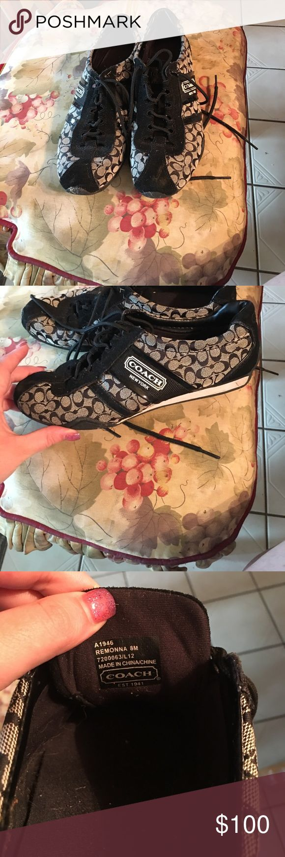 Coach Tennis Shoes Excellent condition. Worn once or twice. Don't fit anymore. Must get rid of Coach Shoes Sneakers