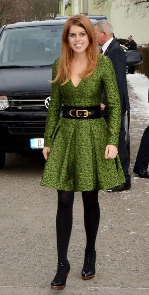 Princess Beatrice of York in green fit-and-flare dress