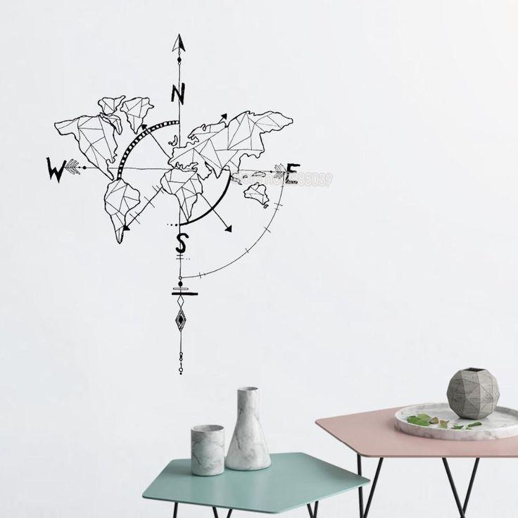 Wandtattoo Abstrakte Weltkarte Kompass Wandaufkleber Schlafzimmer Wohnzimme …   – future home