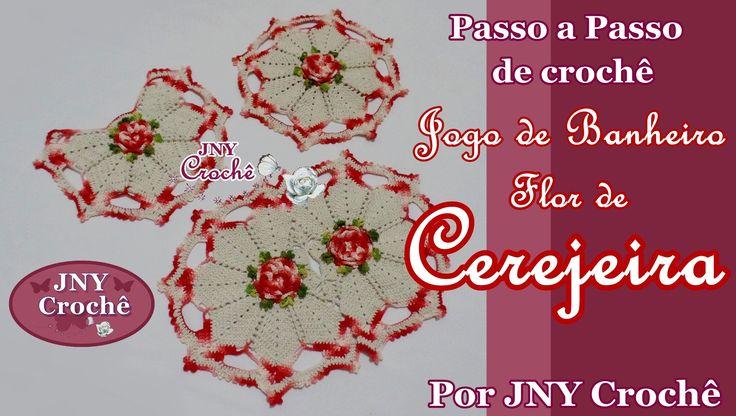 PAP Capa do vaso de crochê Jogo de Banheiro Flor de Cerejeira por JNY Cr...