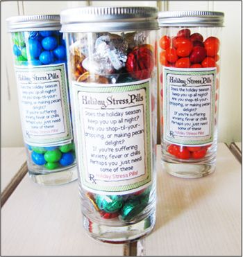 "Great White Elephant Gift Exchange Gift - Printable Labels ""Holiday Stress Pills"""