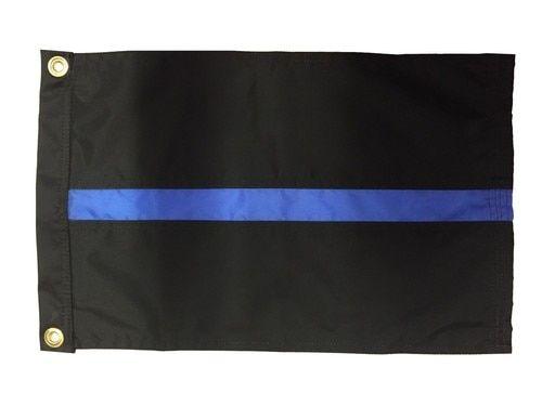 Police Thin Blue Line Sewn Nylon 12x18 Boat Flag