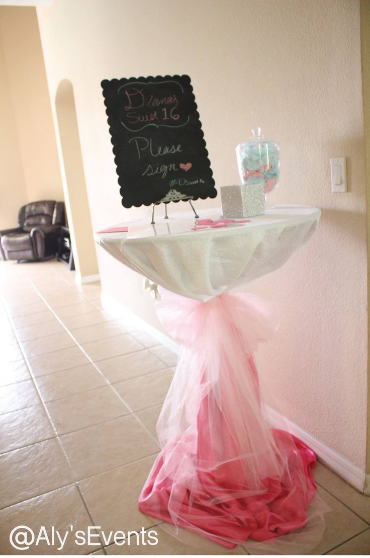 Welcome Table for Summer Sweet 16 Pool Party  Decor by Aly's Elegant Occasions