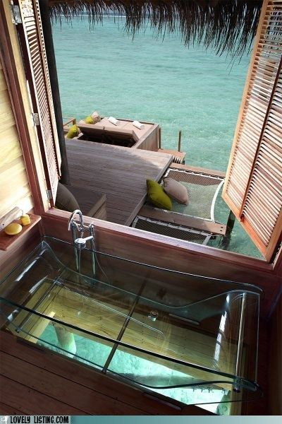 Glass bathtub over the ocean?! Bucket list. (Maldives)
