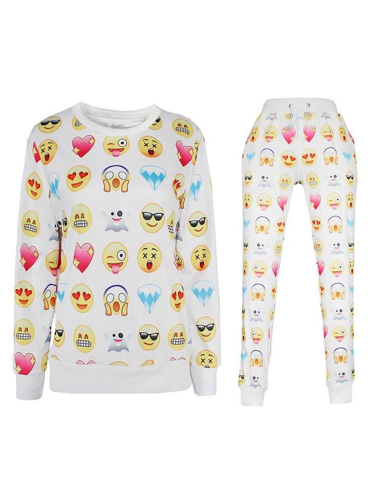 Emoji Clothings Set Online Sale Emoji Joggers Men Women Cheap Emoji Print Sweater
