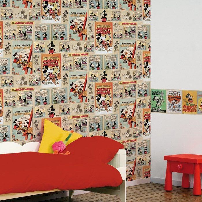 Mickey Vintage Episode multi-gekleurd behang van Graham and Brown
