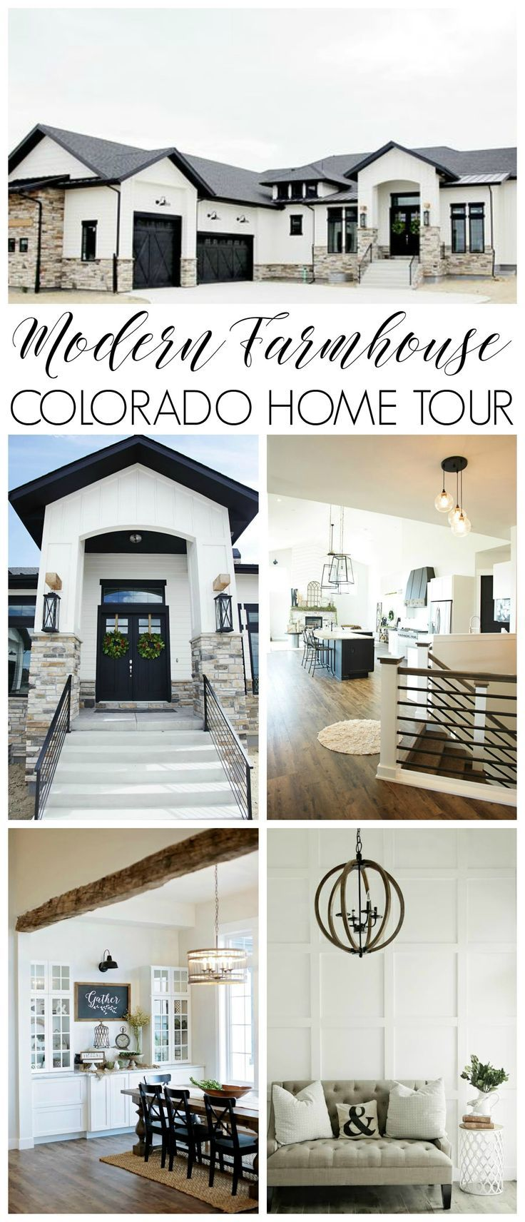 Custom Built Modern Farmhouse Home Tour with Household No 6 | You'll find rustic barn wood beams, vaulted ceilings, wood floors and farmhouse style goodness, with a twist. (Best Kitchen Dream Homes)