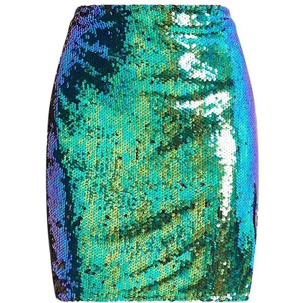 Dawna Green Side Split Sequin Mini Skirt ❤ liked on Polyvore featuring skirts, mini skirts, bottoms, sequin skirt, short skirts, green skirt and short mini skirts