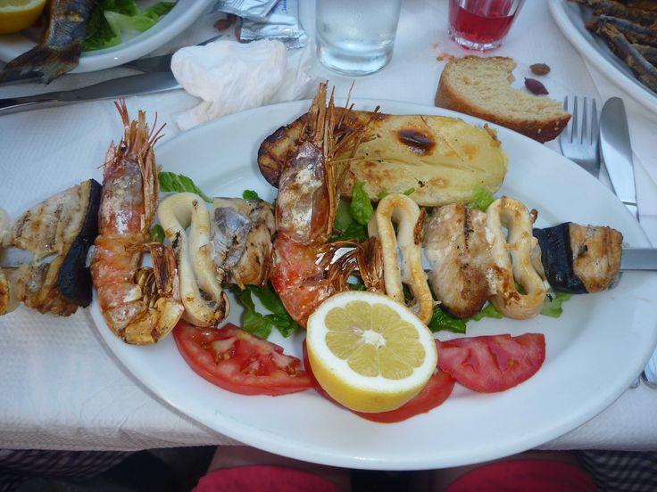 A seafood souvlaki!