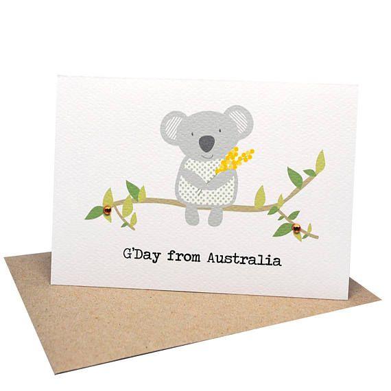 Australia Card Koala Card G Day From Australia Greeting Etsy Cards Cards Handmade Kids Birthday Cards