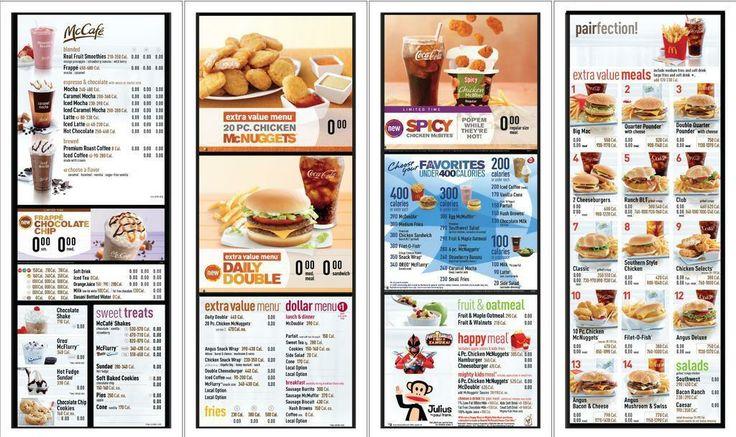 Mcdonald's calories list