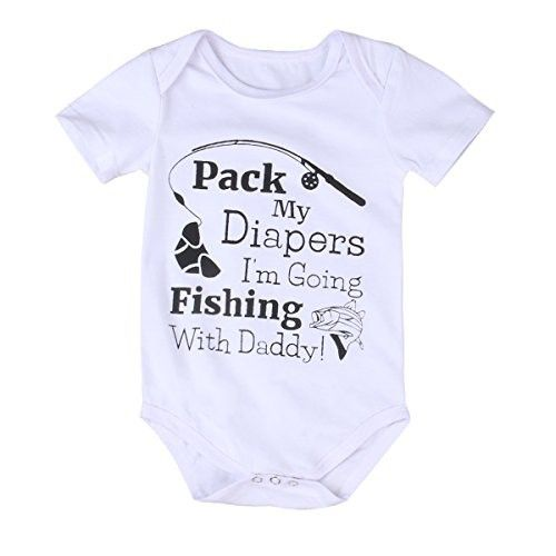 Infant Baby Boy Girl Fishing Romper Jumpsuit Bodysuit Outfits Sunsuit One-pieces(0-6 months, white)