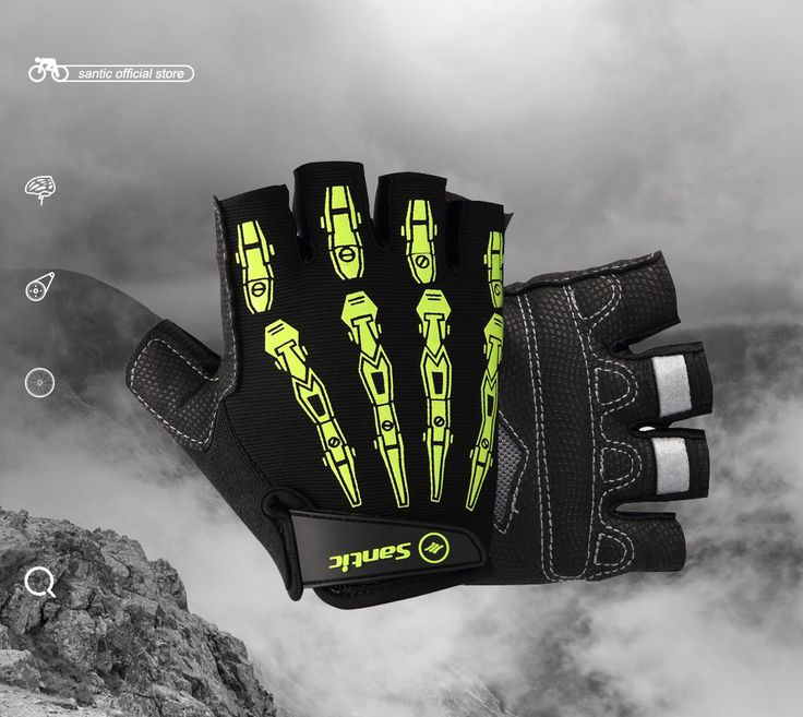 Santic Men Cycling Short Gloves Half Finger Cool Feeling Anti-pilling Anti-static Sun-protective Cycling Protector S35190701H