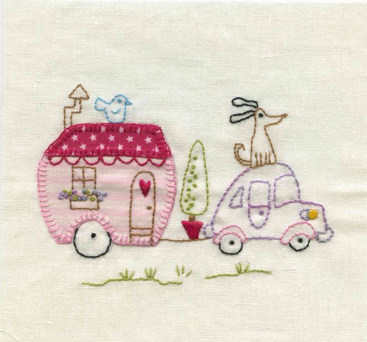 Caravan, one of the cute blocks of Country Holiday quilt - Red Brolly