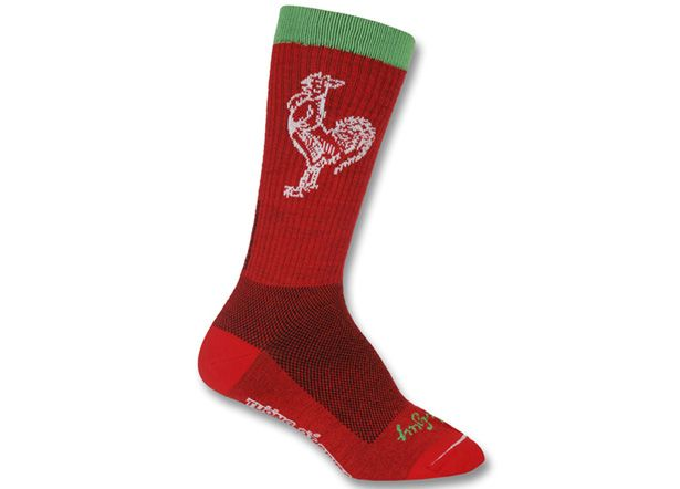 """Sock Guy TurboWool Sriracha  Inspired by the spicy condiment known by fans as """"rooster sauce,"""" these socks don't rate on the Scoville scale,..."""