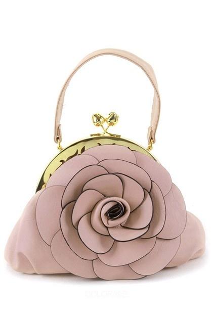 Exqusite Flower Handbag with Twist Metal Lock