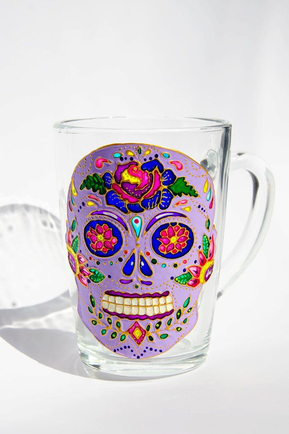 Mexicaanse schedel mok suiker schedel Day of the Dead door Vitraaze