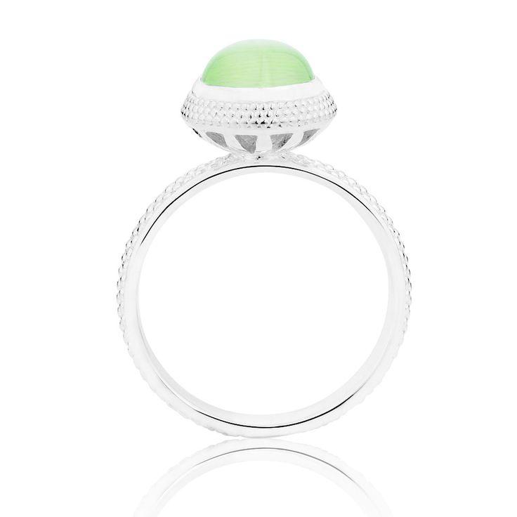 Light Green Cats Eye Stack Ring