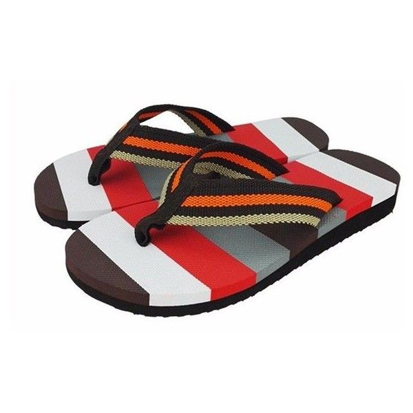 Flip Flops Color Match Clip Toe Beach Slippers (24 BRL) ❤ liked on Polyvore featuring men's fashion, men's shoes, men's slippers, mens slipon shoes, mens black slippers, mens black slip on shoes, mens slip on shoes and mens orange shoes