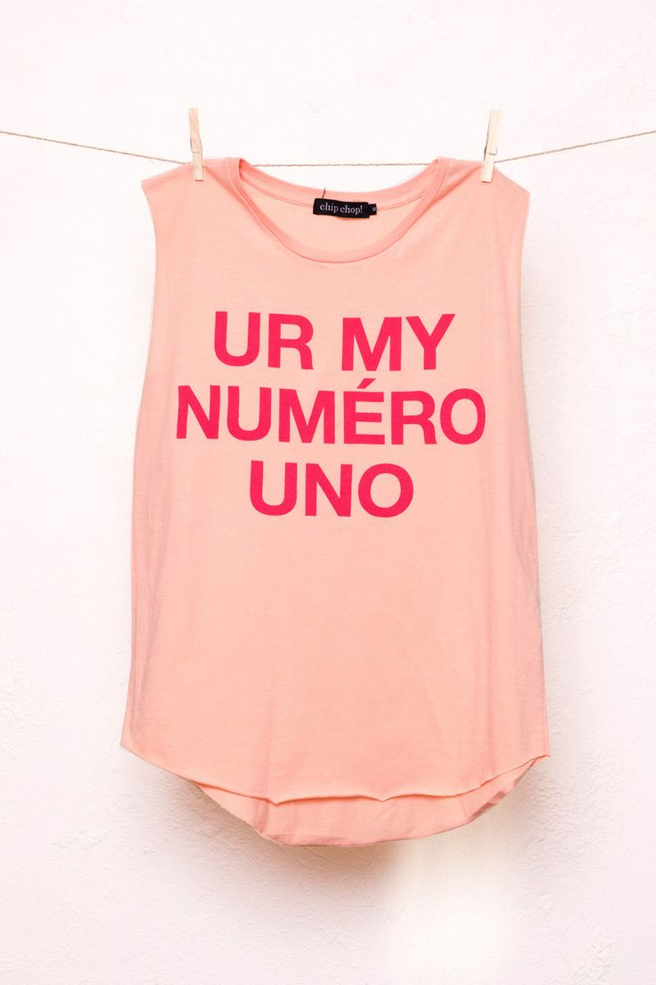 Chip Chop! - UR MY NUMERO UNO Muscle Tank, $69.00 (http://www.chipchop.com.au/ur-my-numero-uno-muscle-tank/)