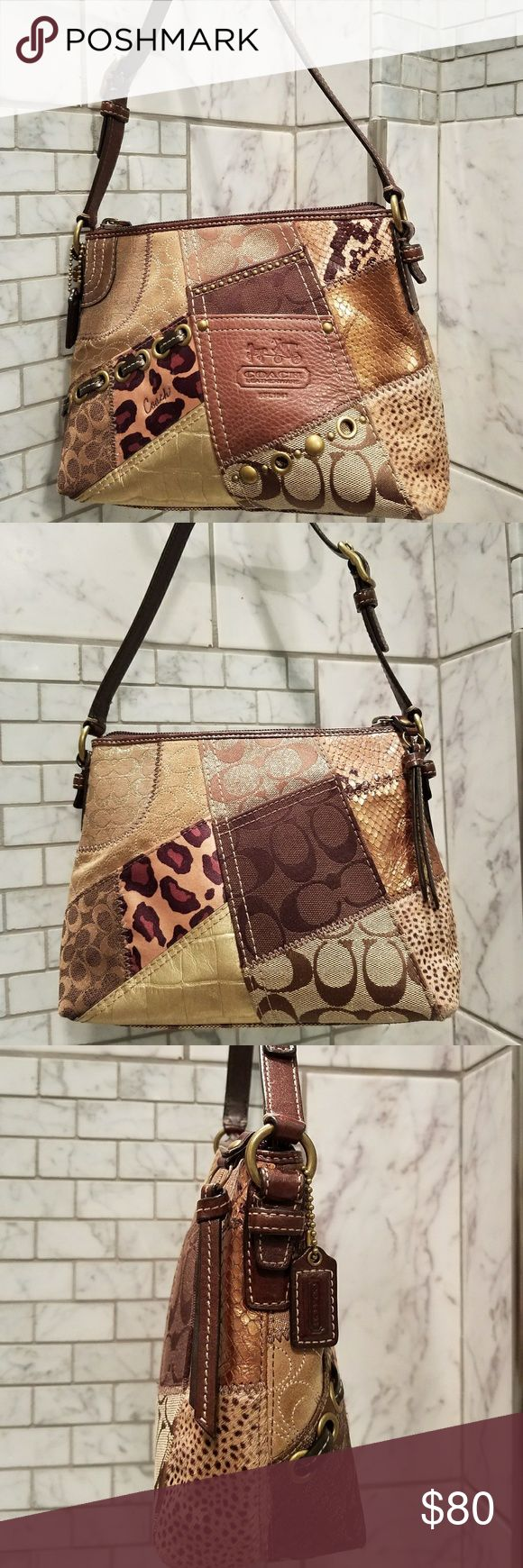 """Mini Genuine EU Coach Bag Multi-texture of leather, metallic leather, animal print faux fur, rosy tan satin lining (not as pink as pictured) with small pocket and 9"""" strap. Minor wear of fur on 2 bottom corners as shown. Dimensions: 9""""W x 7""""H x 3""""D. Coach Bags Mini Bags"""