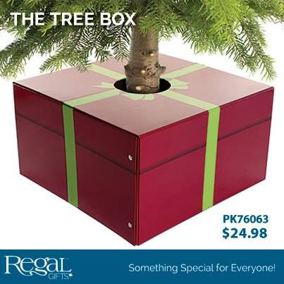 """THE TREE BOX Wrap up your tree with this ingenious foldable present tree base. The sturdy cardboard present folds around your tree stand and stays closed with snaps and magnets. A fun alternative to a tree skirt. Tree trunk opening is 6""""Diam. 20""""W x 20""""L x 11""""H"""