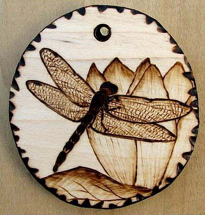 Dragonfly Pyrography Wood Pendant by Tanja Sova