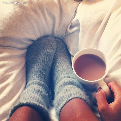 Cozy socks, coffee, comfy winter snuggles