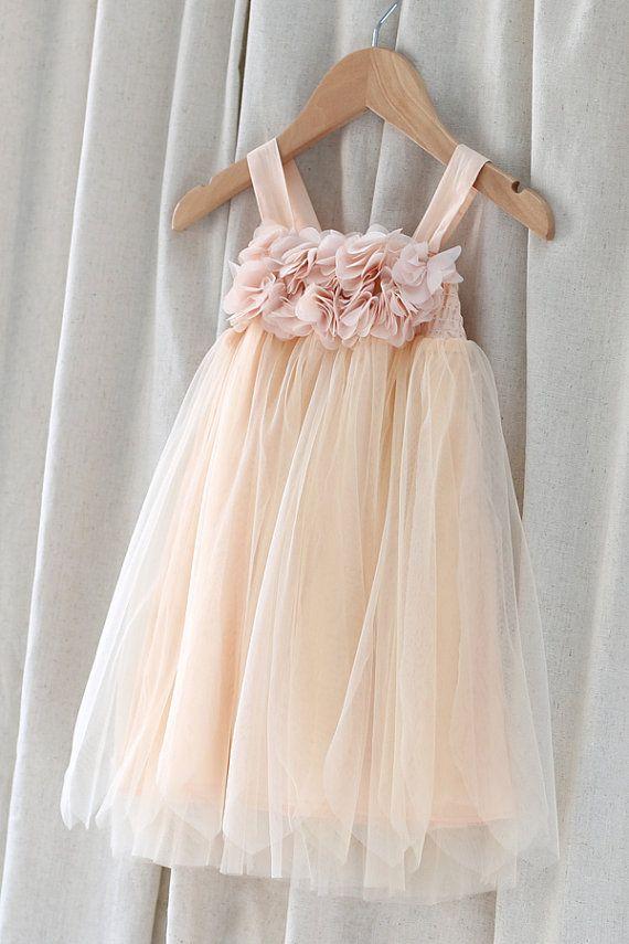 Peach Tulle Girl Dress