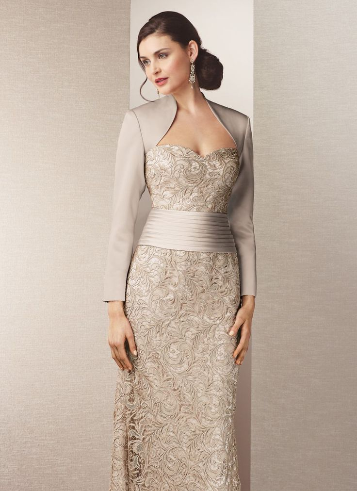 Alyce Jean De Lys 29558 Satin Long Sleeve Lace Gown With Queen Anne Neckline Missy Plus Sizes
