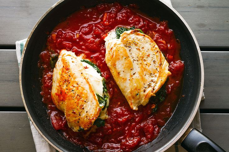 Mozzarella Spinach Chicken Breasts —Seriously cheesy and bursting with flavors, this delicious dinner for two comes together so easy and cooks in about 30 minutes, making it perfect for a busy nig…