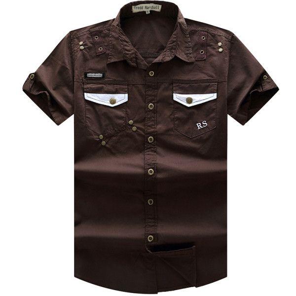 New Men Cargo Shirt Men's Fashion Shirt Short Sleeve Mens Casual Work Tops100% Cotton Solid Zipper for Man Plus Size 55885