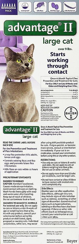 Flea and Tick Remedies 20738: Bayer Advantage Ii Flea Control Treatment For Cats, 6-Month, Over 9-Pound BUY IT NOW ONLY: $56.45