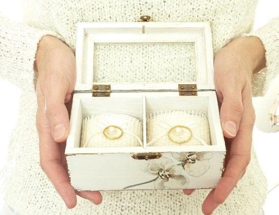 Wedding Ring Bearer Pillow Box White Ring Bearer by SayaArtDesign, $58.00