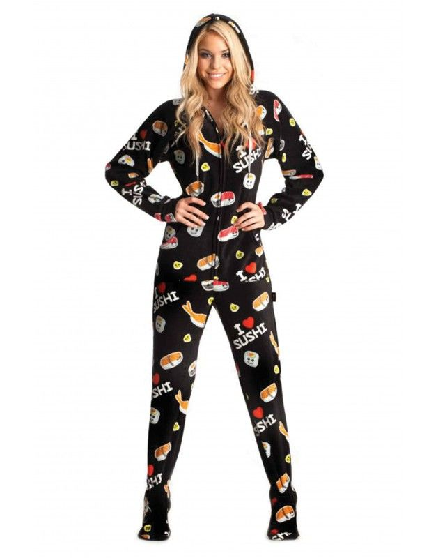 Hot Sushi Adult Footed onesie Pajamas