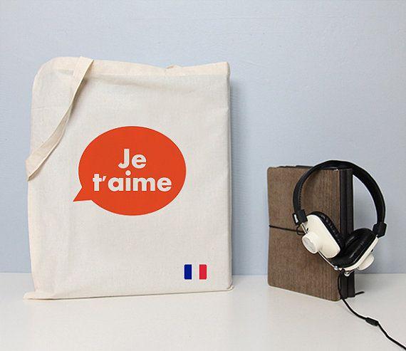 Je t'aime zak tote tas Franse tote hou van je citaat
