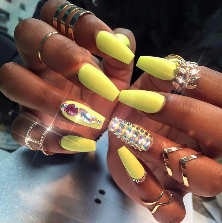yellow matte nails - photo #22