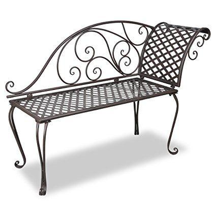 vidaXL Panchina in metallo schienale con disegno Marrone anticato