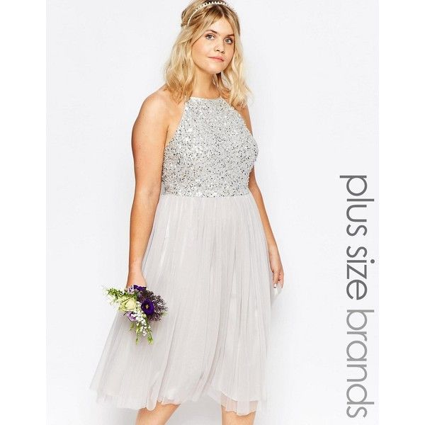 Lovedrobe Luxe High Neck Sequin Tulle Midi Dress ($69) ❤ liked on Polyvore featuring plus size women's fashion, plus size clothing, plus size dresses, grey, high neck cocktail dress, gray dress, plus size sequin dress, plus size grey dress and women's plus size dresses