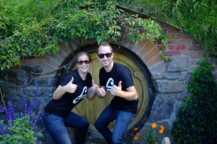 Amelia & Hayden from our Air New Zealand Social Media Team give #Hobbiton the double thumbs up