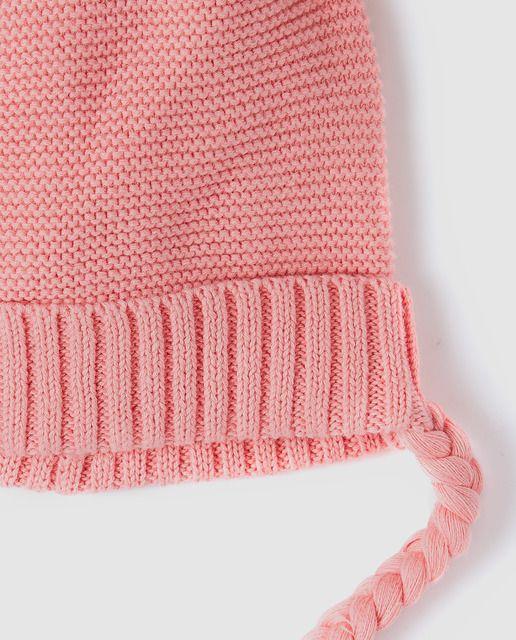 Gorro de bebé niña Brotes en rosa con pompones